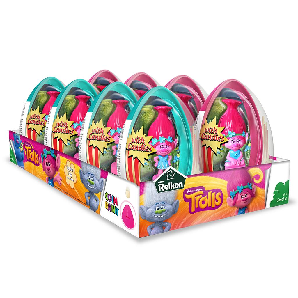 Grosse Überraschungsei mit Spielzeug und Bonbons TROLLS