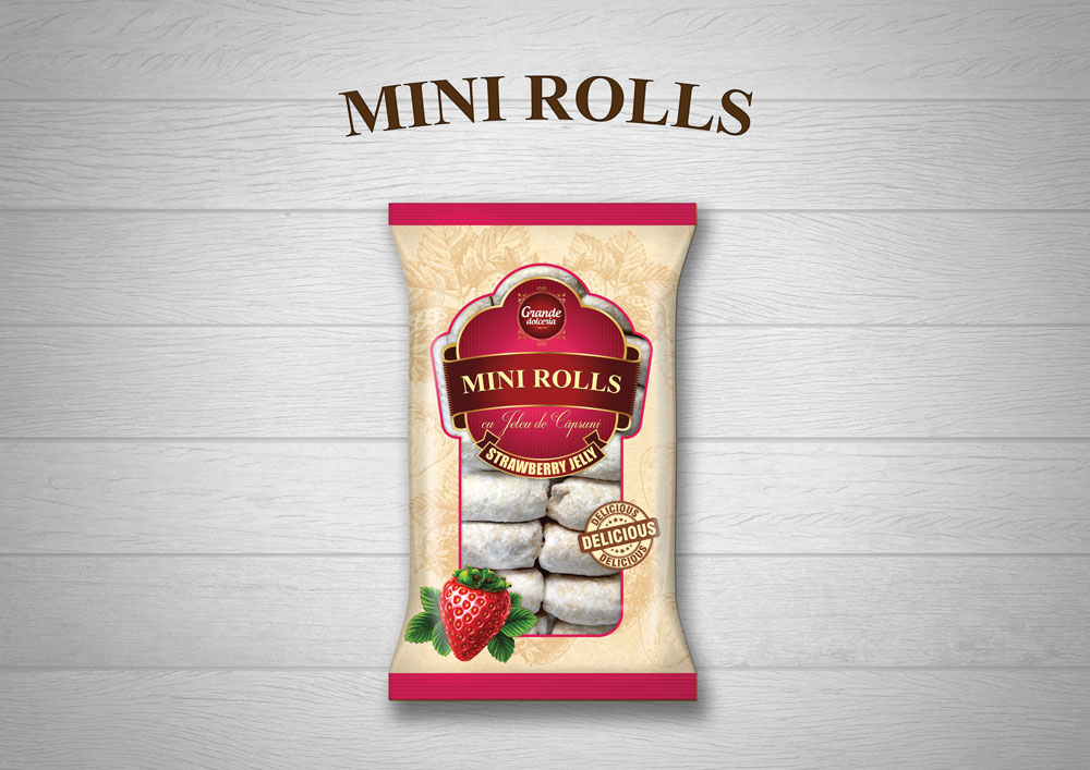 MINI-ROLLS WITH STRAWBERRY JELLY