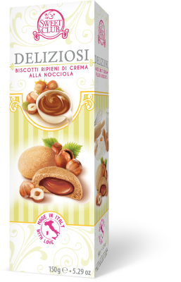 DELIZIOSI BISCUITS WITH HAZELNUT CREAM FILLING 150g 9.99